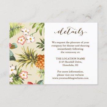 tropical leaves pineapple hawaiian wedding details invitation