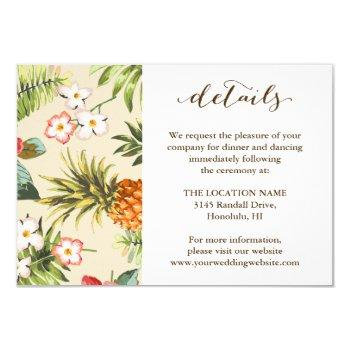 tropical leaves pineapple hawaiian wedding details invitation