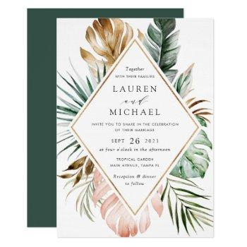 tropical modern gold palm greenery floral blush invitation