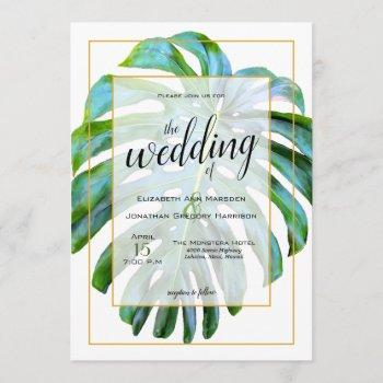 tropical monstera leaf photograph gold wedding invitation