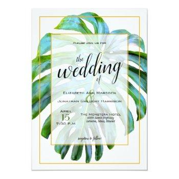 tropical monstera leaf photograph gold wedding invitation
