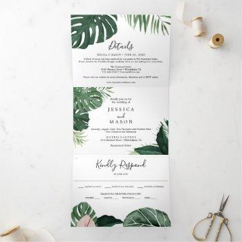 tropical monstera wedding tri-fold invitations