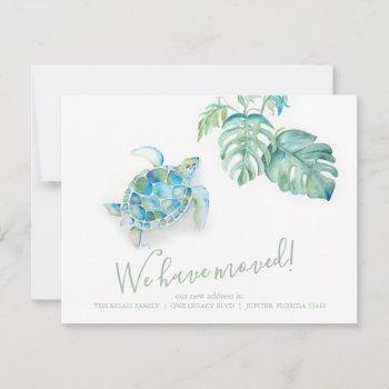 tropical moving announcement watercolor sea turtle