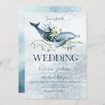 tropical ocean dolphin wedding invitations