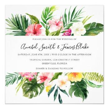 tropical palm banana leaves floral wedding invitation