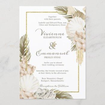 tropical palm boho white floral wedding invitation