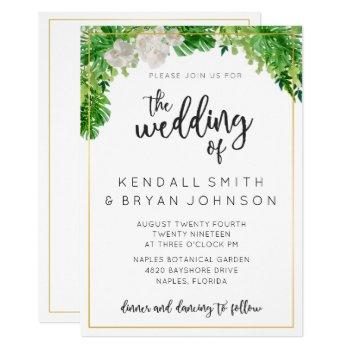 tropical palm leaves and greenery wreath wedding invitation