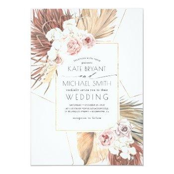 Small Tropical Palms Foliage Seaside Desert Wedding Invitation Front View