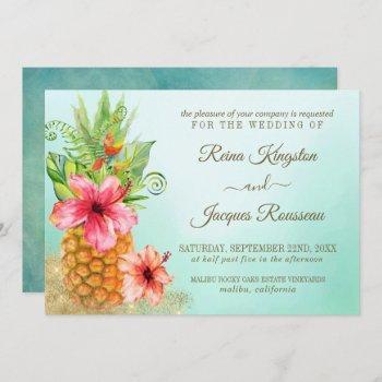 tropical paradise pineapple floral bouquet wedding invitation