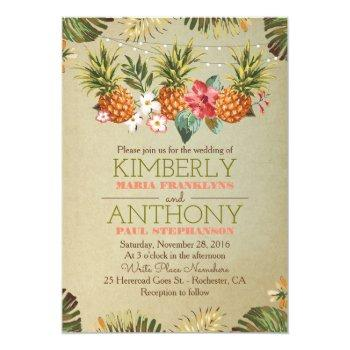 tropical pineapple beach lights wedding invitation