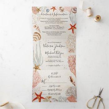 tropical seashell and coral sandy beach wedding tri-fold invitation
