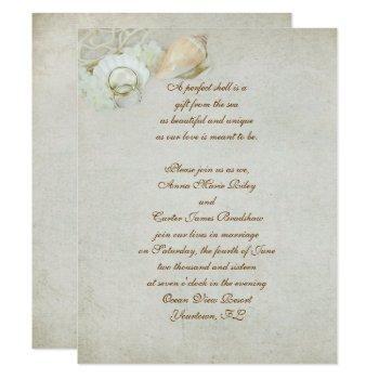tropical seashell wedding invitation