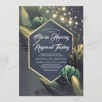 tropical seaside night and gold palms wedding invitation