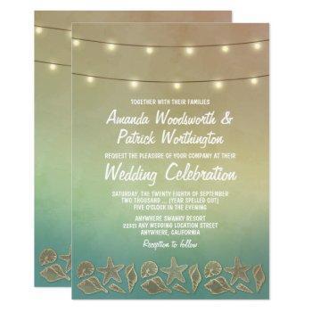 tropical starfish and seashell wedding invitations