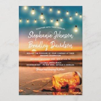 tropical sunset beach mason jar lights wedding invitation