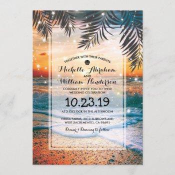 tropical sunset beach twinkle lights wedding invitation