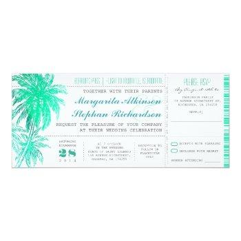 tropical teal beach wedding tickets -boarding pass invitation