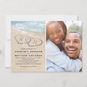 tropical vintage beach heart wedding photo invitation