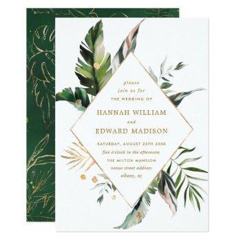 tropical watercolor foliage gold frame wedding invitation