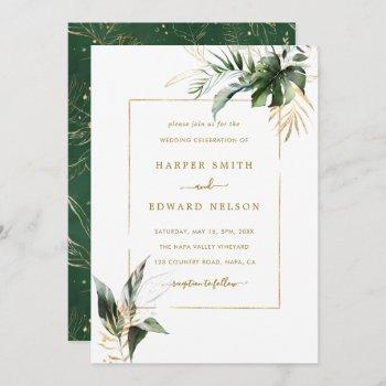 tropical watercolor leaves gold frame wedding invitation