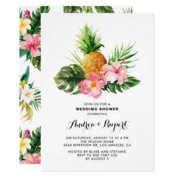 tropical watercolor pineapple wedding shower invitation