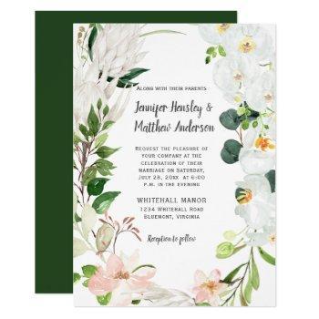 tropical white blush orchids magnolias wedding invitation