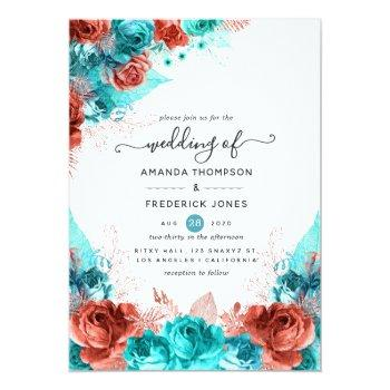 Small Turquoise And Coral Rustic Floral Wedding Invitation Front View