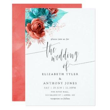 turquoise and coral watercolor floral wedding invitation