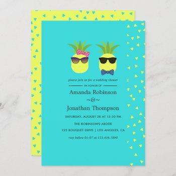 turquoise and lemon fun pineapple wedding shower invitation