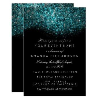 turquoise blue sparkly glitter black white event invitation