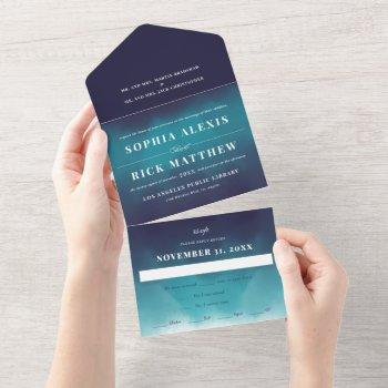 turquoise blue waves ombre wedding all in one invitation