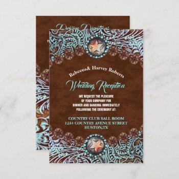 turquoise brown country western wedding reception invitation