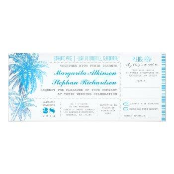 Small Turquoise Destination Wedding Tickets Invitation Front View