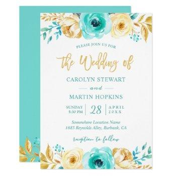 turquoise mint gold floral romantic chic wedding invitation