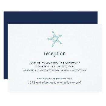 turquoise & navy starfish reception card