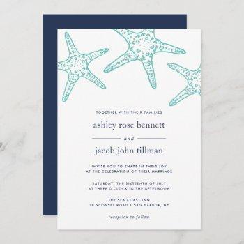 turquoise & navy starfish wedding invitation