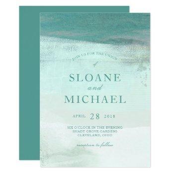 turquoise ombre watercolor wash beach wedding invitation