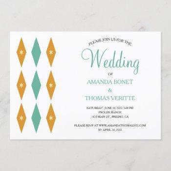turquoise orange diamond star mid century wedding invitation