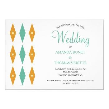 turquoise orange diamond star mid century wedding invitation