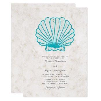 turquoise rustic seashell wedding invite