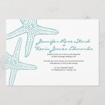 turquoise starfish wedding invite