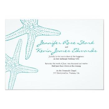 Small Turquoise Starfish Wedding Invite Front View