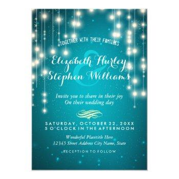 turquoise string lights wedding shower invitations