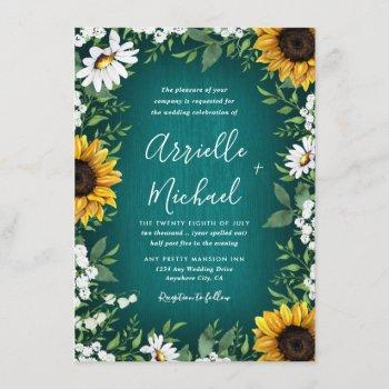 turquoise sunflower rustic wedding invitations