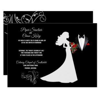 tuxedo suit & bride silhouette b&w wedding invitation
