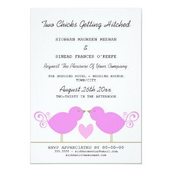 two chicks getting hitched lesbian wedding invitation