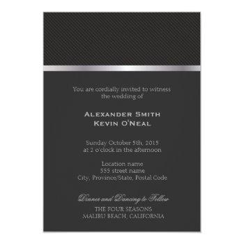 two grooms-gay gray lines wedding ı invitation