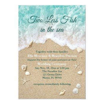 two less fish in the sea wedding invitation