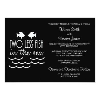 Small Two Less Fish In The Sea Wedding Invitation Front View