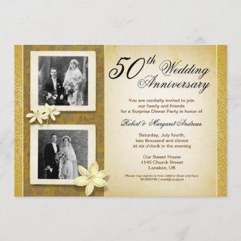two photos wedding anniversary invitations